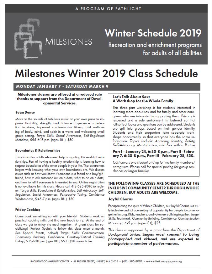 Milestones Winter Catalog Cover